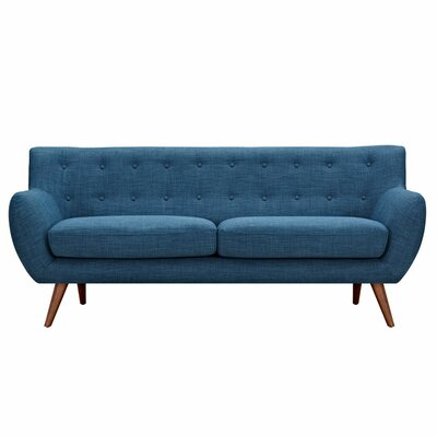 Ida Sofa Upholstery: Stone Blue, Frame Finish: Walnut