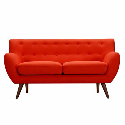 Ida Loveseat Upholstery: Retro Orange, Frame Finish: Walnut