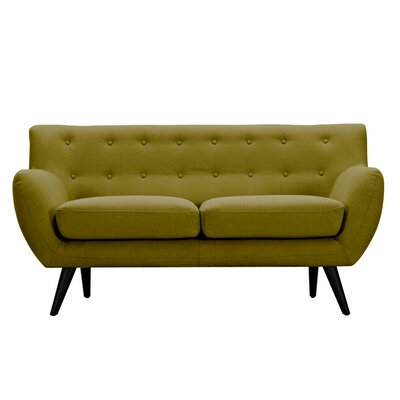 Ida Loveseat Upholstery: Avocado Green, Frame Finish: Black