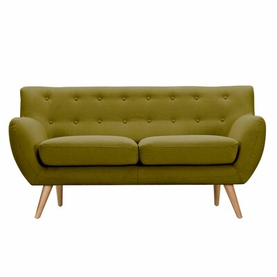 Ida Loveseat Frame Finish: Natural, Upholstery: Avocado Green