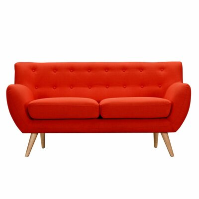 Ida Loveseat Frame Finish: Natural, Upholstery: Retro Orange