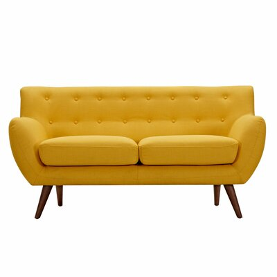 Ida Loveseat Upholstery: Papaya Yellow, Frame Finish: Walnut