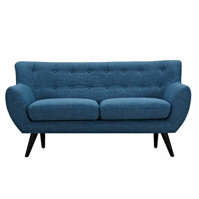 Ida Loveseat Upholstery: Stone Blue, Frame Finish: Black