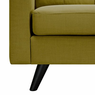 Uma Sofa Finish: Walnut, Upholstery: Papaya Yellow