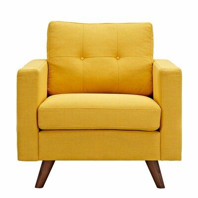 Uma Armchair Upholstery: Papaya Yellow, Finish: Walnut