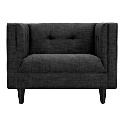 Kaja Armchair Upholstery: Charcoal Gray, Finish: Black