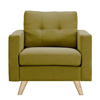 Uma Arm Chair Finish: Natural, Upholstery: Avocado Green