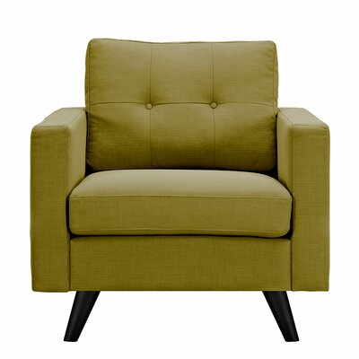 Uma Armchair Finish: Black, Upholstery: Avocado Green