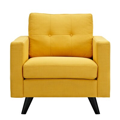 Uma Armchair Finish: Black, Upholstery: Papaya Yellow