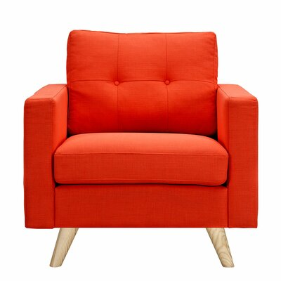Uma Arm Chair Finish: Natural, Upholstery: Retro Orange