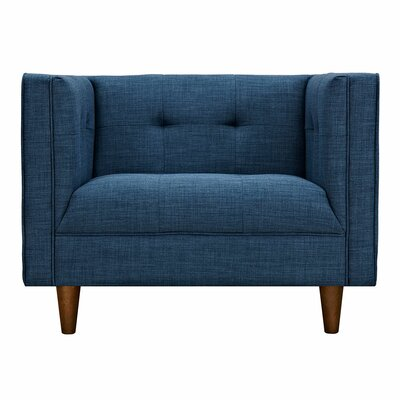 Kaja Armchair Finish: Walnut, Upholstery: Stone Blue