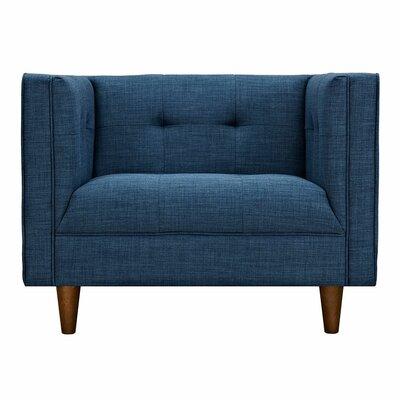 Kaja Club Chair Finish: Walnut, Upholstery: Stone Blue