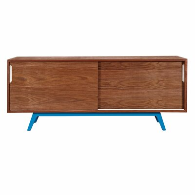 Elsa Credenza Base Color: Yellow, Top Color: Walnut