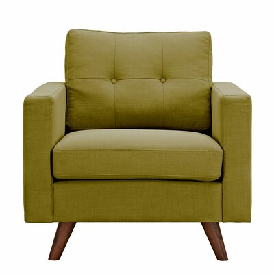 Uma Armchair Upholstery: Avocado Green, Finish: Walnut