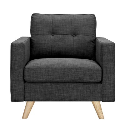 Uma Armchair Upholstery: Charcoal Gray, Finish: Natural