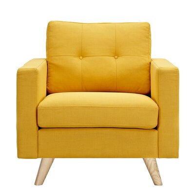 Uma Armchair Upholstery: Papaya Yellow, Finish: Natural