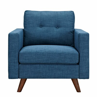 Uma Armchair Finish: Walnut, Upholstery: Stone Blue