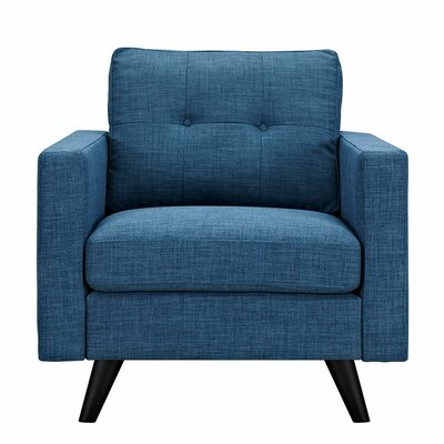 Uma Armchair Upholstery: Stone Blue, Finish: Black