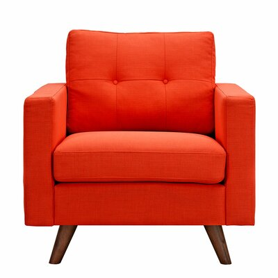 Uma Armchair Finish: Walnut, Upholstery: Retro Orange