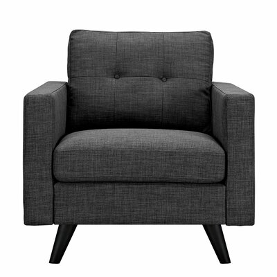 Uma Armchair Finish: Black, Upholstery: Charcoal Gray