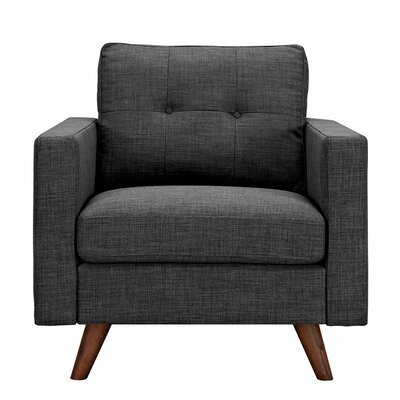 Uma Armchair Finish: Walnut, Upholstery: Charcoal Gray