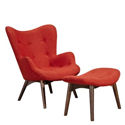 Aiden Lounge Chair and Ottoman Upholstery: Lava Red, Finish: Walnut