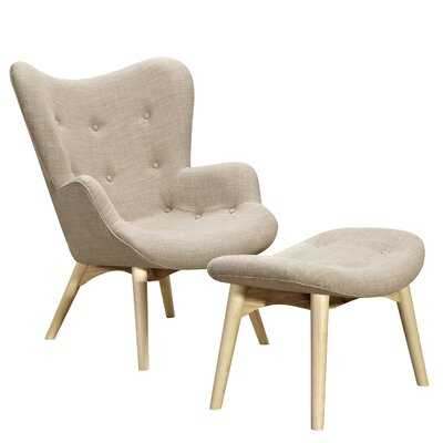 Aiden Lounge Chair and Ottoman Finish: Natural, Color: Oatmeal Gray