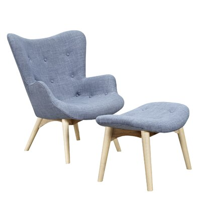 Aiden Lounge Chair and Ottoman Finish: Natural, Color: Slate Blue