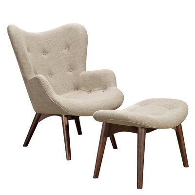 Aiden Lounge Chair and Ottoman Upholstery: Oatmeal Gray, Finish: Walnut