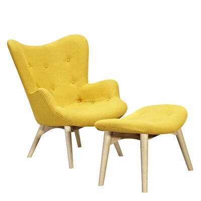 Aiden Lounge Chair and Ottoman Finish: Natural, Color: Papaya Yellow