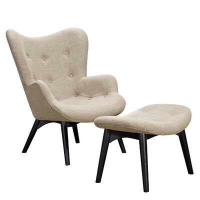 Aiden Lounge Chair and Ottoman Upholstery: Oatmeal Gray, Finish: Black