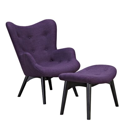 Aiden Lounge Chair and Ottoman Finish: Black, Color: Plum Purple