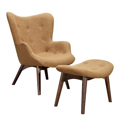 Aiden Lounge Chair and Ottoman Finish: Walnut, Color: Camel Brown
