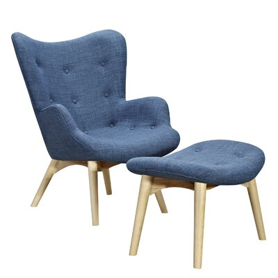 Aiden Lounge Chair and Ottoman Upholstery: Dodger Blue, Finish: Natural