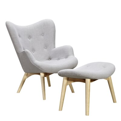 Aiden Lounge Chair and Ottoman Upholstery: Glacier White, Finish: Natural