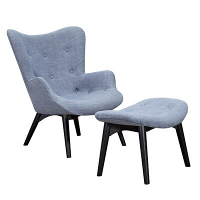 Aiden Lounge Chair and Ottoman Upholstery: Slate Blue, Finish: Black