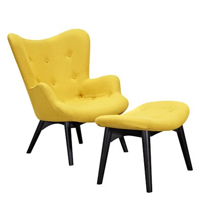 Aiden Lounge Chair and Ottoman Upholstery: Papaya Yellow, Finish: Black
