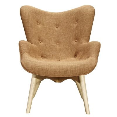 Aiden Lounge Chair and Ottoman Finish: Natural, Color: Camel Brown