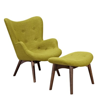 Aiden Lounge Chair and Ottoman Upholstery: Avocado Green, Finish: Walnut