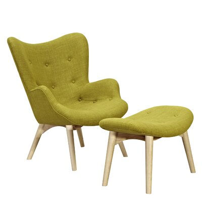 Aiden Lounge Chair and Ottoman Upholstery: Avocado Green, Finish: Natural