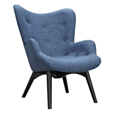 Aiden Lounge Chair and Ottoman Upholstery: Dodger Blue, Finish: Black