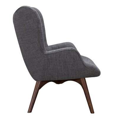 Aiden Lounge Chair and Ottoman Upholstery: Charcoal Gray, Finish: Walnut