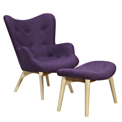 Aiden Lounge Chair and Ottoman Upholstery: Plum Purple, Finish: Natural
