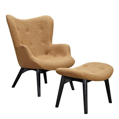 Aiden Lounge Chair and Ottoman Finish: Black, Color: Camel Brown