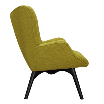 Aiden Lounge Chair and Ottoman Upholstery: Avocado Green, Finish: Black