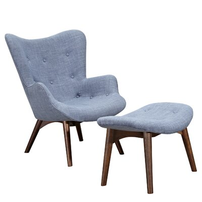 Aiden Lounge Chair and Ottoman Finish: Walnut, Color: Slate Blue