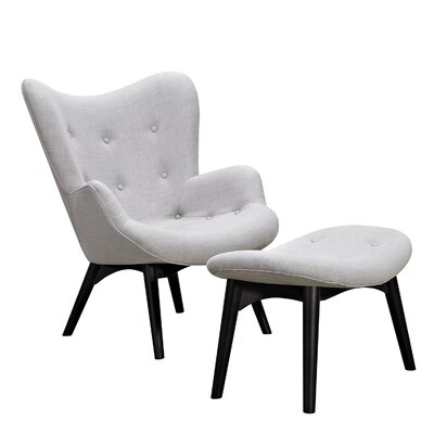 Aiden Lounge Chair and Ottoman Finish: Black, Color: Glacier White
