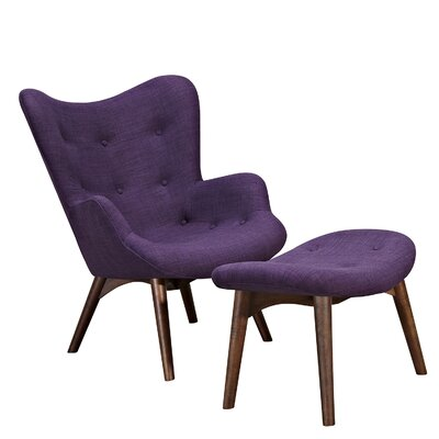Aiden Lounge Chair and Ottoman Finish: Walnut, Color: Plum Purple