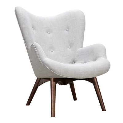 Aiden Lounge Chair and Ottoman Upholstery: Glacier White, Finish: Walnut