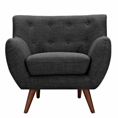 Ida Armchair Leg Finish: Walnut, Upholstery Color: Charcoal Gray